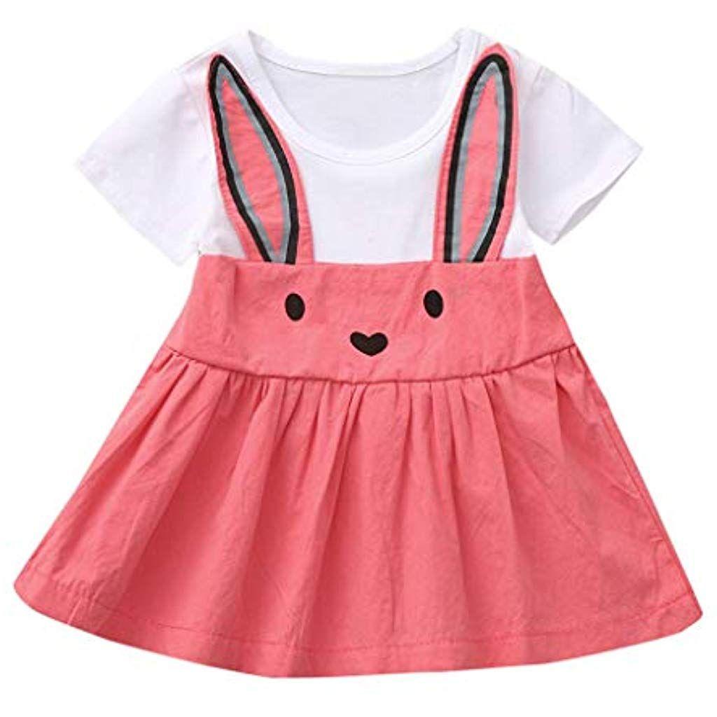 94a507b48 Ropa Bebe Niña Verano Fossen Recién Nacido 1 a 4 Años Princesa Vestido de  Manga Corta