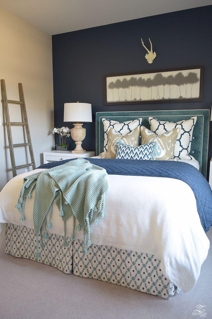 A Cozy Guest Room Retreat Of A Transitional Navy Aqua Bedroom