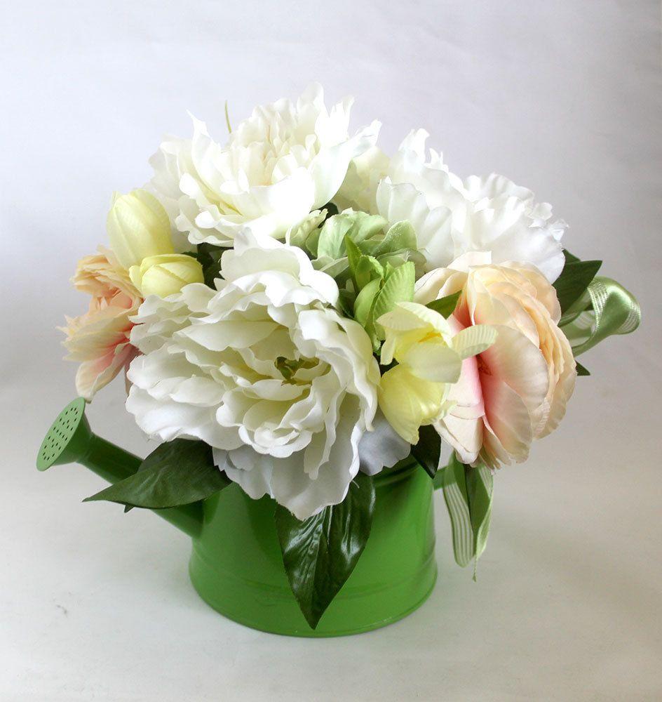 Summer Peonies Watering Can Silk Flower Arrangement Silk