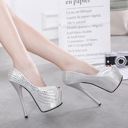 MANMITU5-Free libre 2017 sexy party crystal solo zapato zapatos de mujer plataforma bombas peep toe altos talones de las señoras de plata de la manera 15.5 cm(China (Mainland))