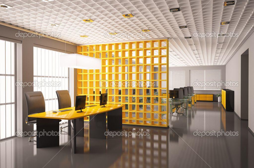 Oficina moderna con equipos interiores 3d render for Pinterest oficinas modernas