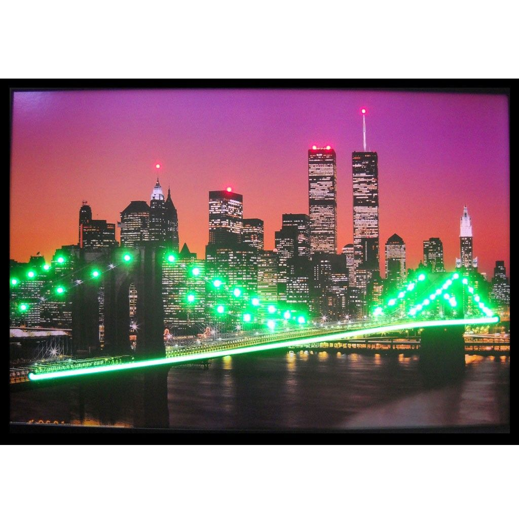 new york skyline neon led picture each poster comes fully framed and ready to hang on your wall. Black Bedroom Furniture Sets. Home Design Ideas