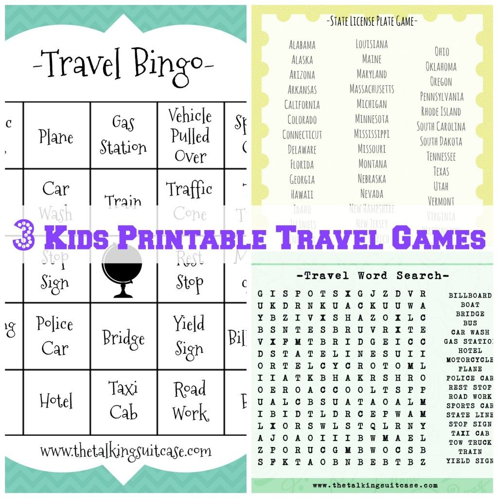 Kids Printable Travel Games