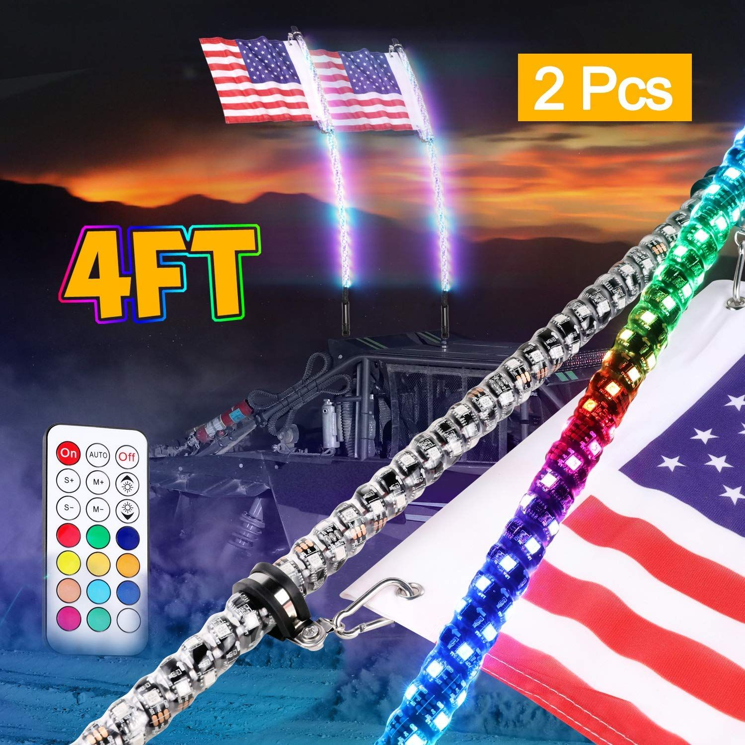 Wayup 2pcs 4ft Led Whip Lights With Remote Control Spiral Lighted Whips Rgb Dancing Chasing Light Led Antenna Whips For Utv Atv Pola Polaris Rzr Rzr Jeep Truck