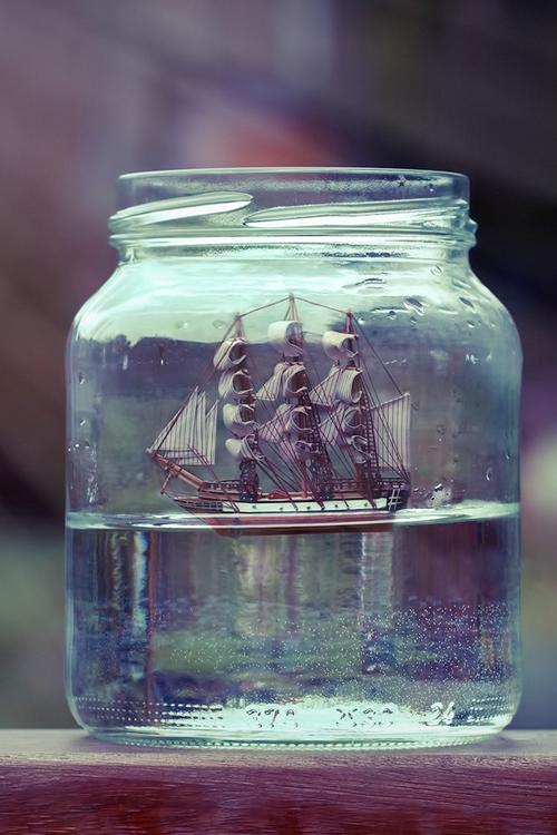 Miniature Ship Water Art Cool Jar Ship Ship In Bottle Jar Photography