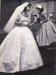 43984eecd3f 1950s Wedding Gown - how sweet is this bride with her flower girl ...