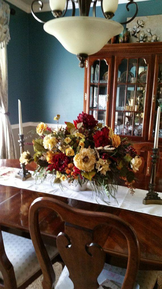 Floral Arrangement Xl Floral Centerpiece Large Formal Silk Etsy Dining Room Table Centerpieces Dining Room Table Decor Formal Dining Room Table Decor