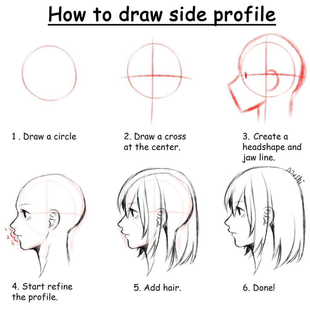 How To Draw Side Profile Picture Not By Me Credit Fully To Muimushi Follow Muimushi For More Aw Profile Drawing Body Drawing Tutorial Drawing Tips