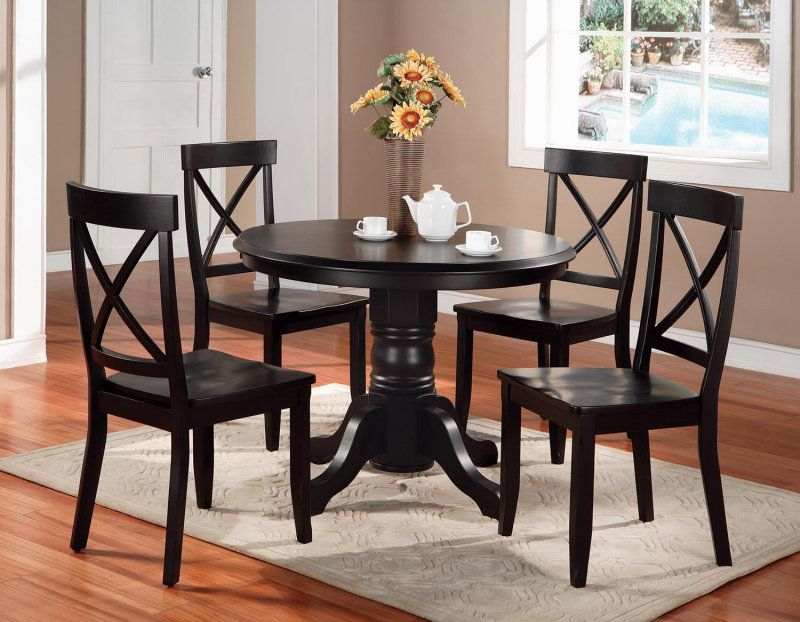 Black Dining Room Chairs Black Round Dining Table And Chairs Modest