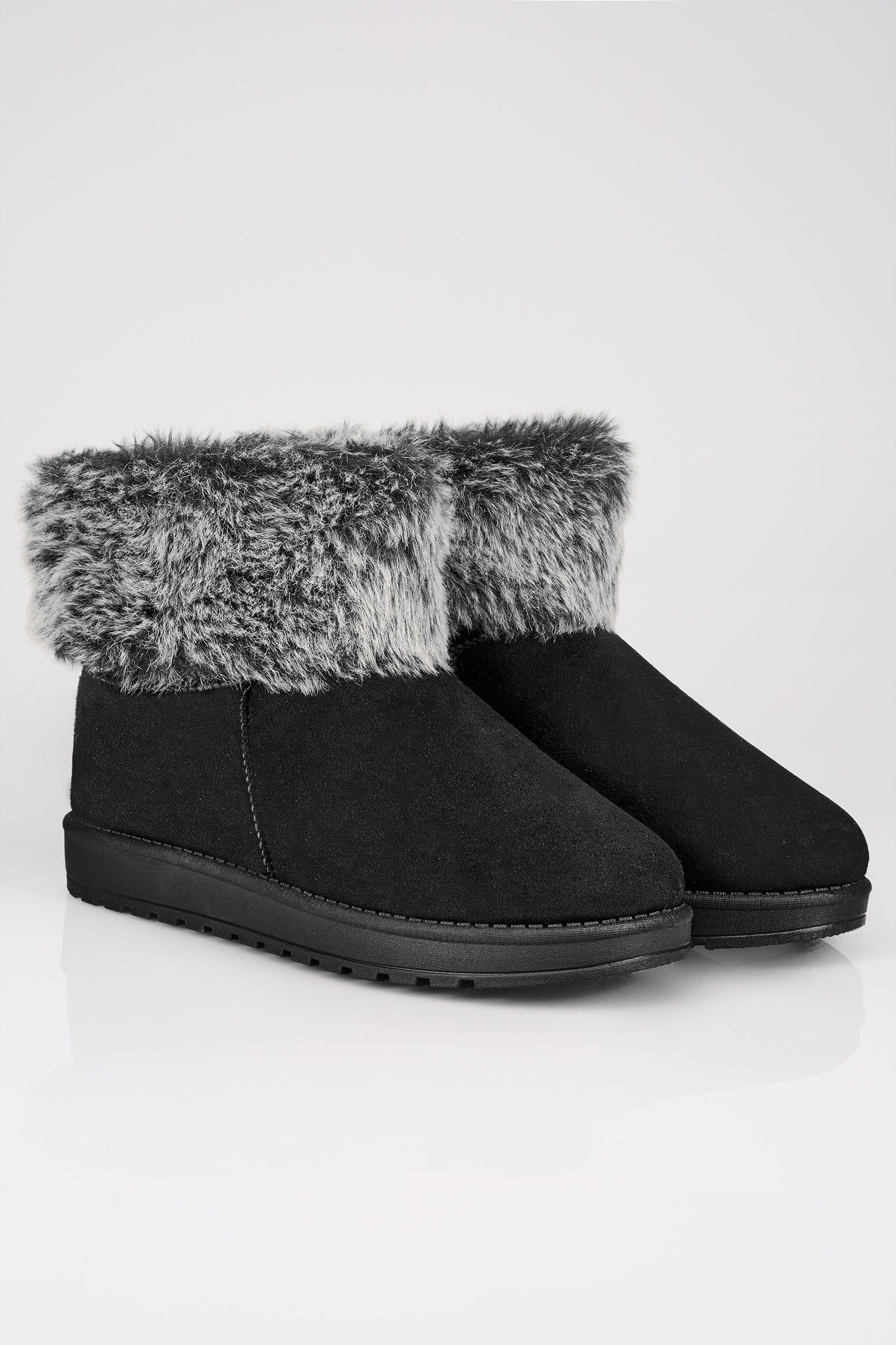 0313312da717 Black Faux Fur Trim Ankle Boots In TRUE EEE FIT