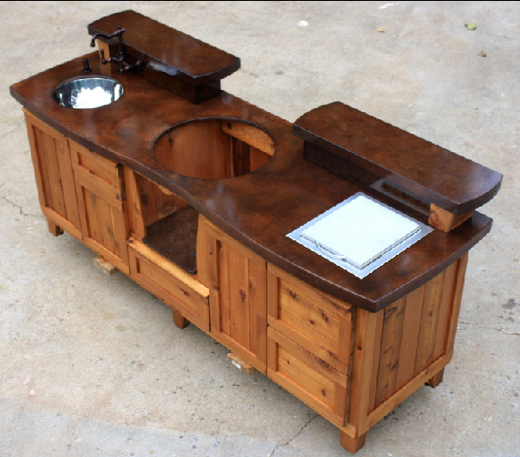 Custom Outdoor Kitchen / Table For The Big Green Egg PoshPatios.com