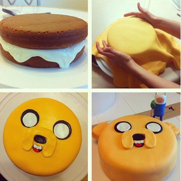 Jake from Adventure Time cake.