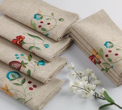 Wild Flower Embroidered Napkin Set of 4