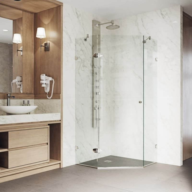 Vigo Vg6061bncl38 Clear Brushed Nickel Verona 73 3 8 High X 38 Wide X 36 1 8 Deep Hinged Frameless Shower Enclosure With 3 8 Glass In 2020 Neo Angle Shower Corner Shower Enclosures Shower Enclosure