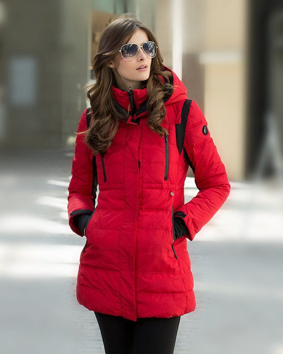 Womens Winter Hooded Red Quilted Duck Down Coat Puffer Jacket Warm Parka  Overcoat 054e42e2f81e6