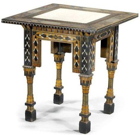 Art Déco Carlo Bugatti Petite Table Bois 2 Tons Incrustations