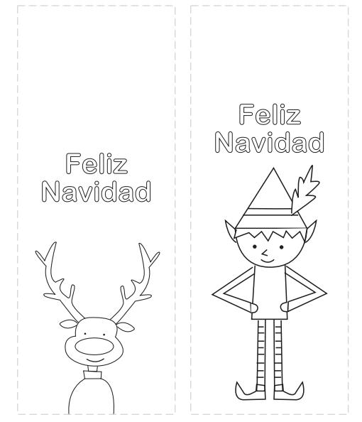 Marcapáginas de Navidad para colorear | Feliz Navidad en español ...