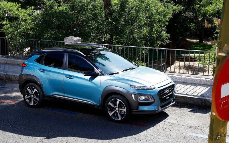 Wallpaper Blue car, Hyundai Kona, suv Coches y