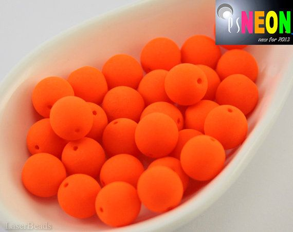 Neon Orange Beads 8mm UV active 20 Czech Glass Round by LaserBeads