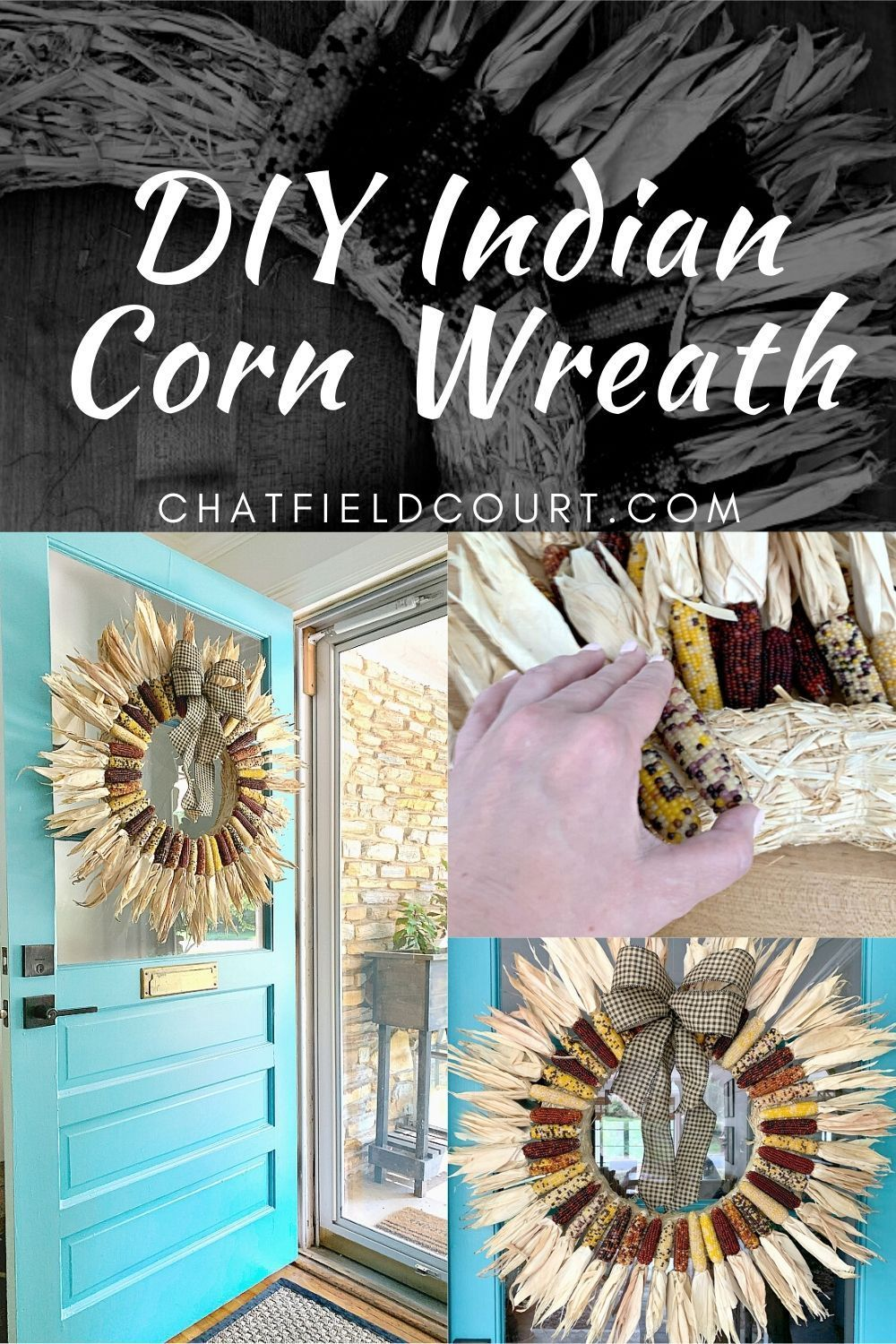 How to make a DIY Indian corn cob wreath with dried mini corn. Such an easy craft to do and it's the perfect fall or Thanksgiving decor for your front door.