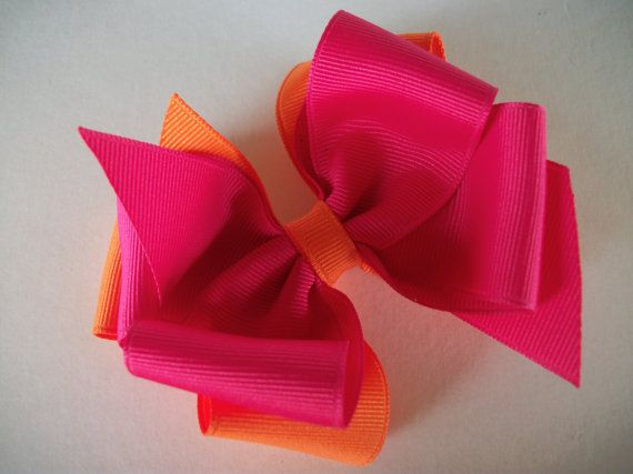Hair Bow Hot Pink and Orange Double Boutique by preciouscurls,