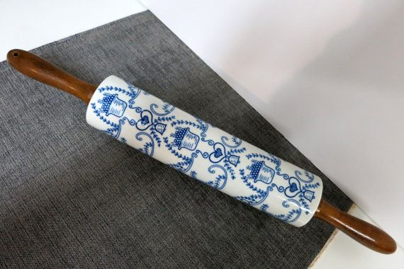 Vintage Rolling Pin Vintage Ceramic Stoneware by kingdomcreations