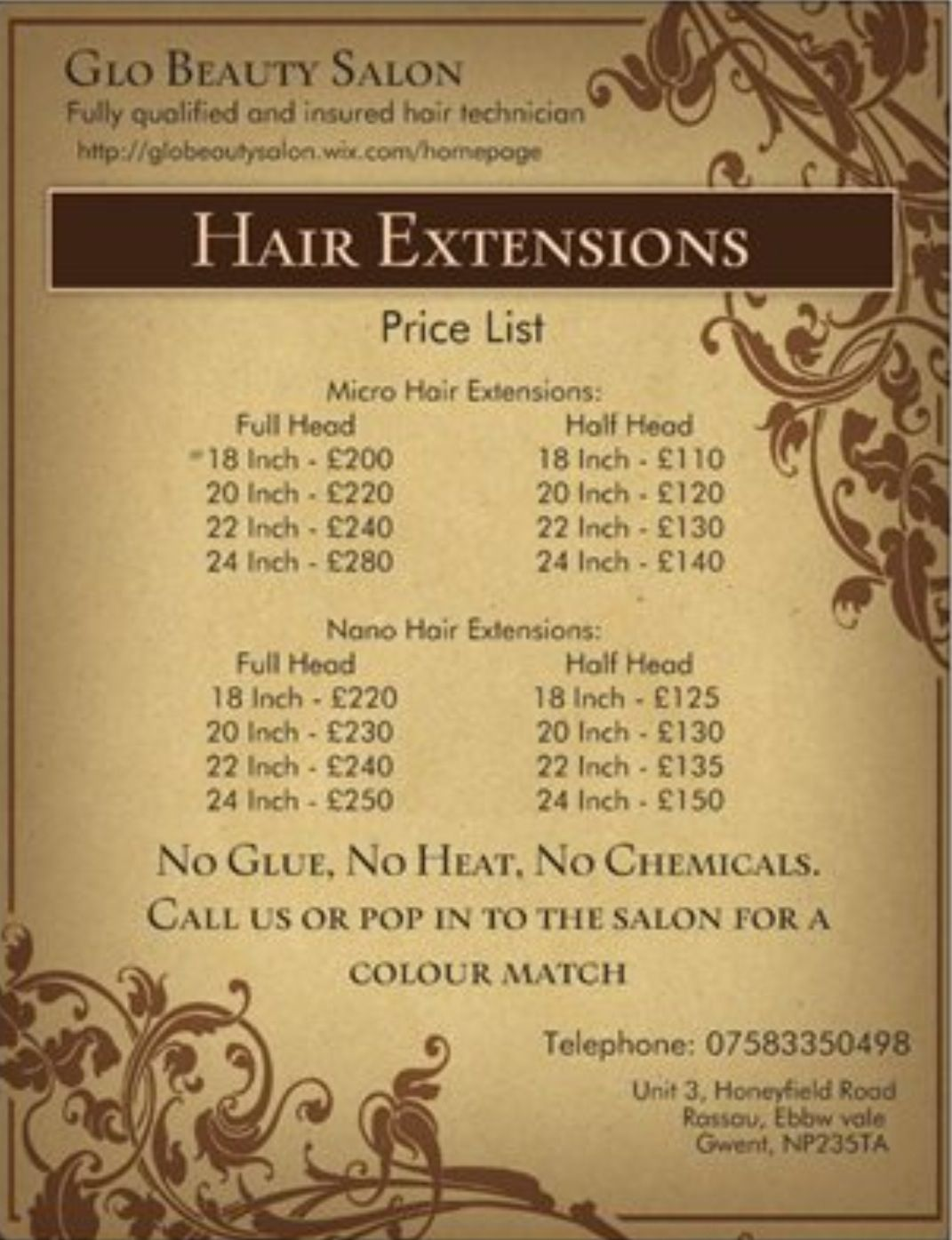 Beauty Salon Prices Hair Extension Price List Advertising Pinterest Hair