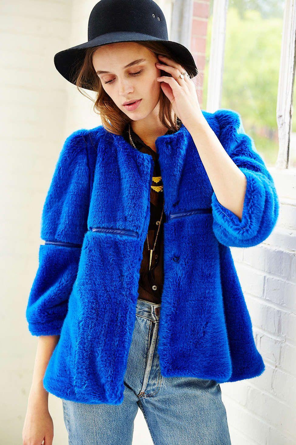 12 Glamorous Faux Fur Coats You Need This Season Blue Fur Coat Cropped Coat Faux Fur Coat