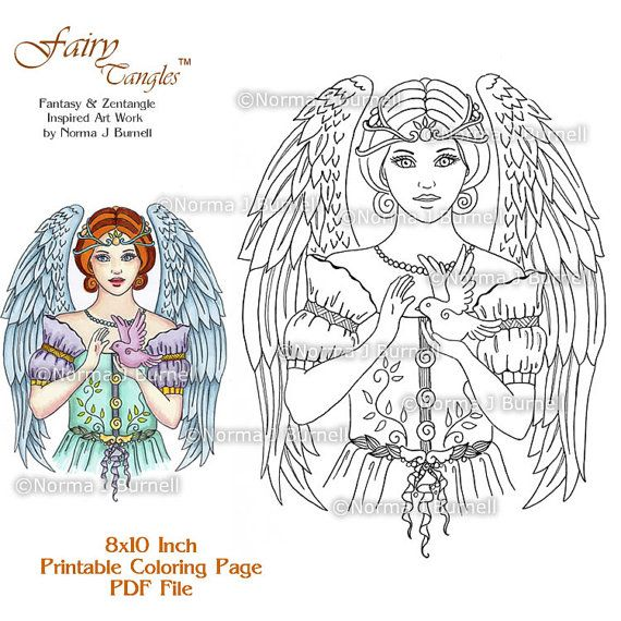 Angel Blessing Fairy Tangles Adult Printable Coloring Pages by ...