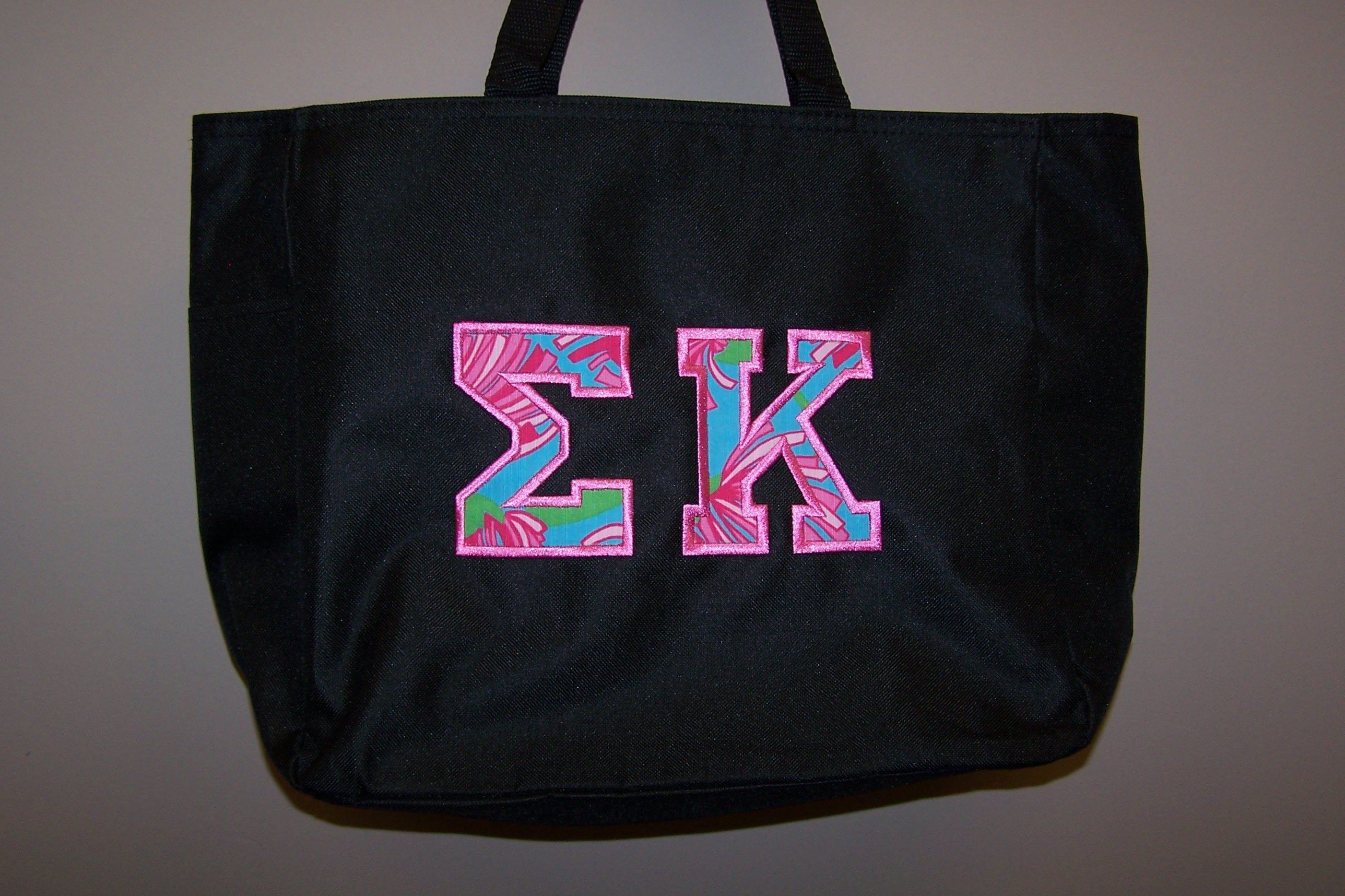 e4f71da95b Sigma Kappa Canvas Tote with Lilly Kissue Fabric Letters and Hot Pink  Accent Thread