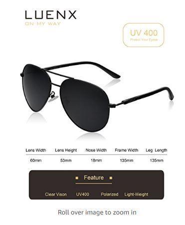 dd6916bcc45 LUENX Aviator Sunglasses Polarized for Men Women with Sun Glasses Case - UV  400 -  15