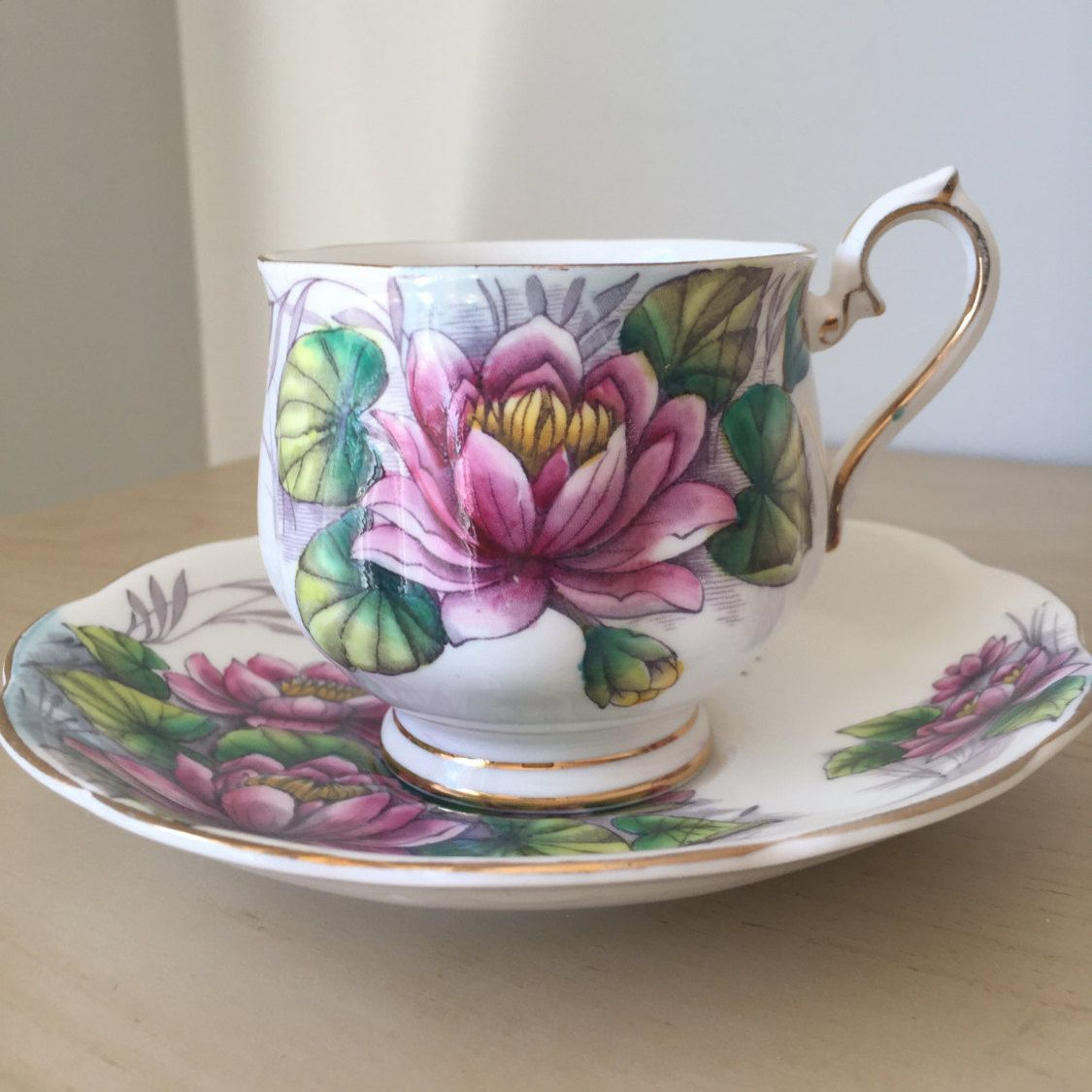 Royal albert water lily flower of the month series vintage teacup royal albert water lily flower of the month series vintage teacup and saucer july tea cup english pink purple floral bone china izmirmasajfo