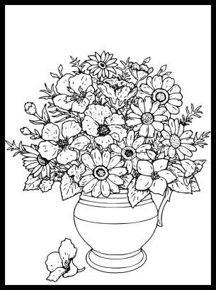 Flower pot coloring sheets