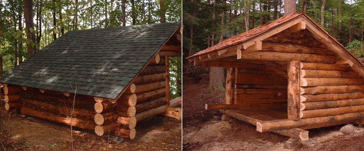 Rustic cabins in the woods custom built adirondack lean for Adirondack cabin builders