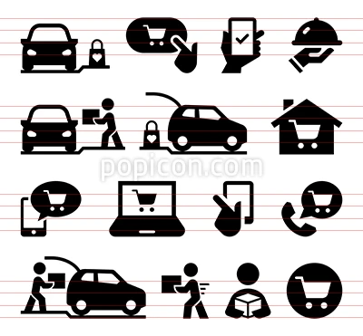 Online Shopping Curbside Pickup Icon Set Icon Set Icon Royalty Free Icons