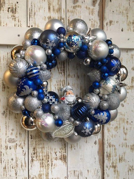 Blue Ornament Wreath Santa Wreath Christmas Decor Holiday Wreath Christmas Wreath Vintage Ornaments Holiday Wreaths Christmas Ornament Wreath Holiday Wreaths