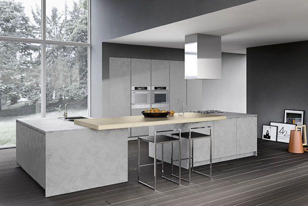 omicron armony küche integrierte kücheninsel holz beton Küche Pinterest Kücheninsel