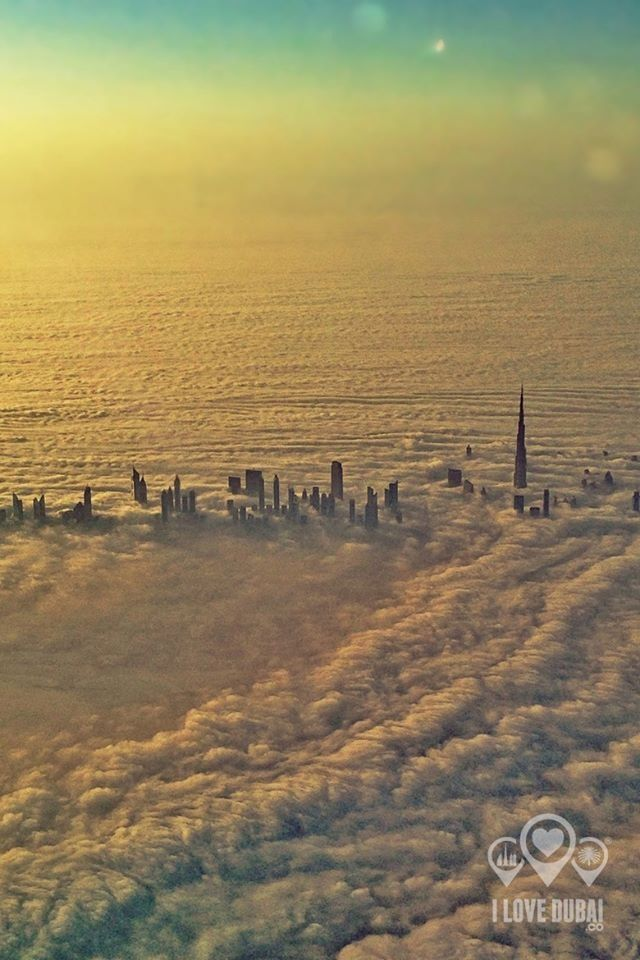 Dubai from above the clouds