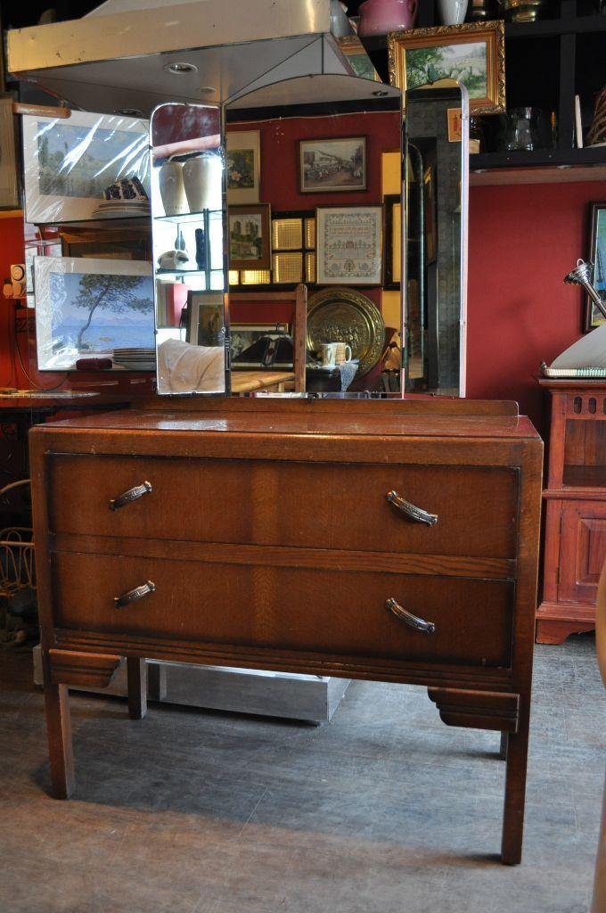 vintage oak utility furniture dressing table shabby chic