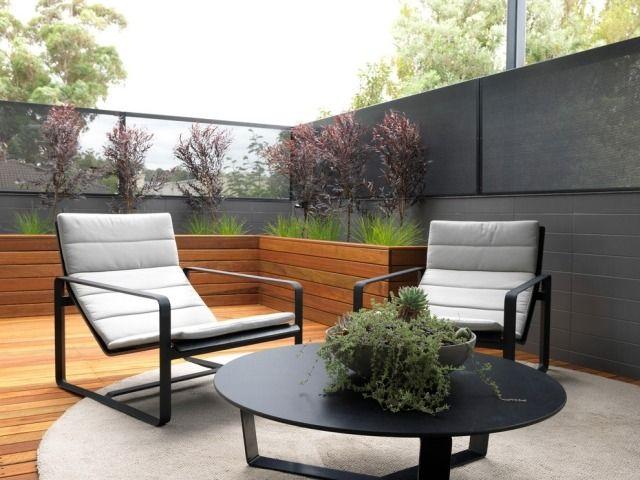 Patio Sichtschutz-ideen Gestaltung-mit Lebendigen-pflanzen Kübel ... Moderne Dachterrasse Unterhaltungsmoglichkeiten