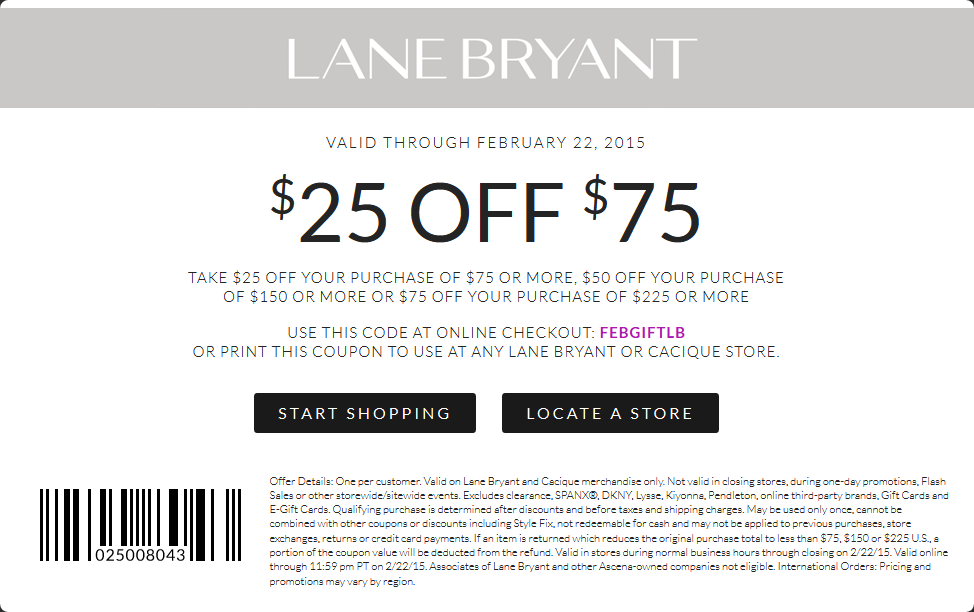 picture regarding Lane Bryant Printable Coupons titled Pinned January 25th: $25 off $75 at Lane #Bryant, or on the net