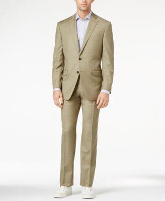 99aaffdae3ff3c Calvin Klein Tan Sharkskin Slim-Fit Suit | Wedding | Slim fit suits ...