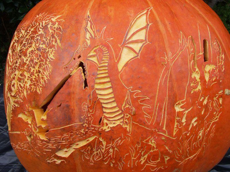 Maleficent Dragon pumpkin carving