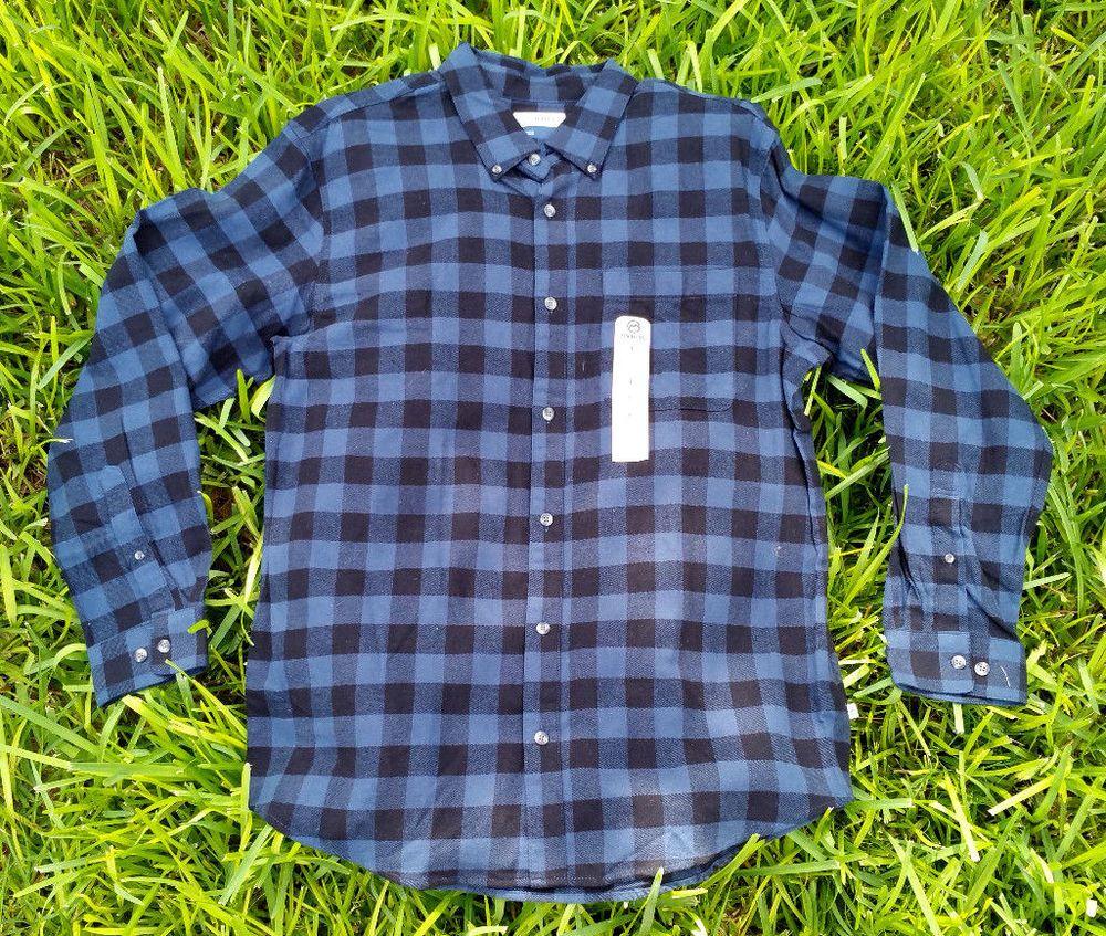 Flannel shirt men outfit  Magellan Outdoors Blue Black Buffalo Check Plaid Flannel Shirt Mens
