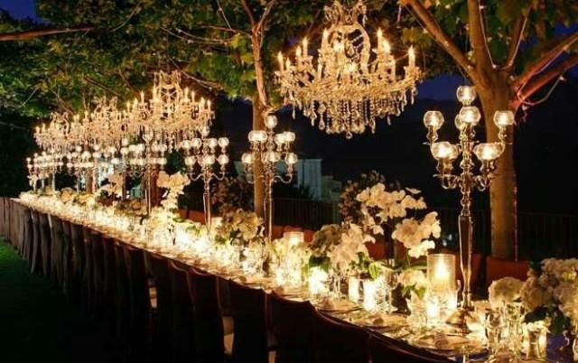 Chandelier wedding tablescape...beautiful for an enchanted forest theme http://designindulgences.com/2013/06/27/magical-wedding-nights/