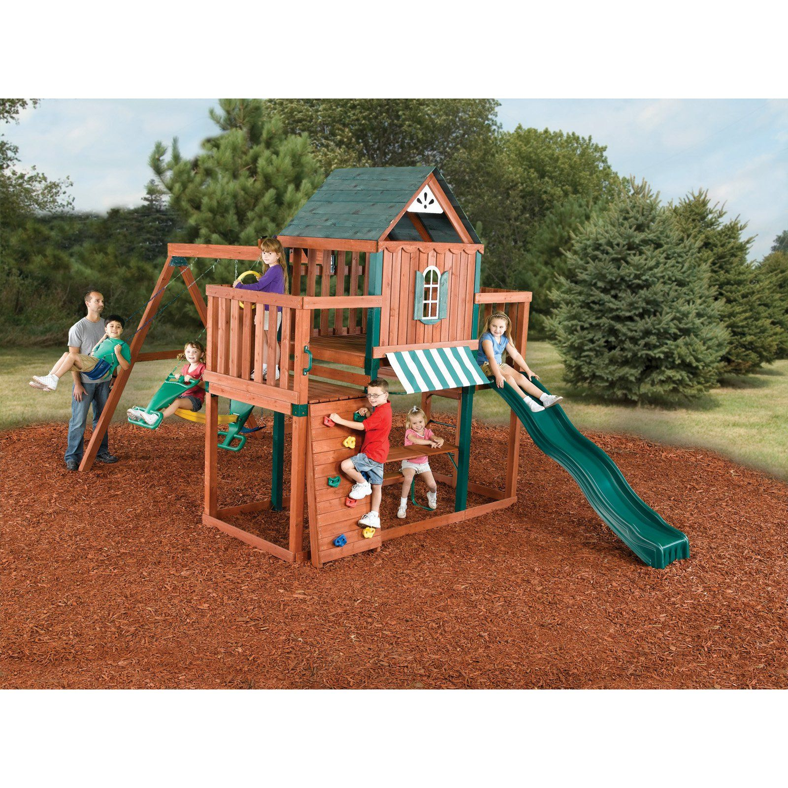 swing n slide winchester wood swing set build a fun filled