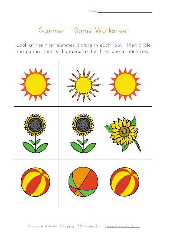 Summer Same Worksheet Pinterest