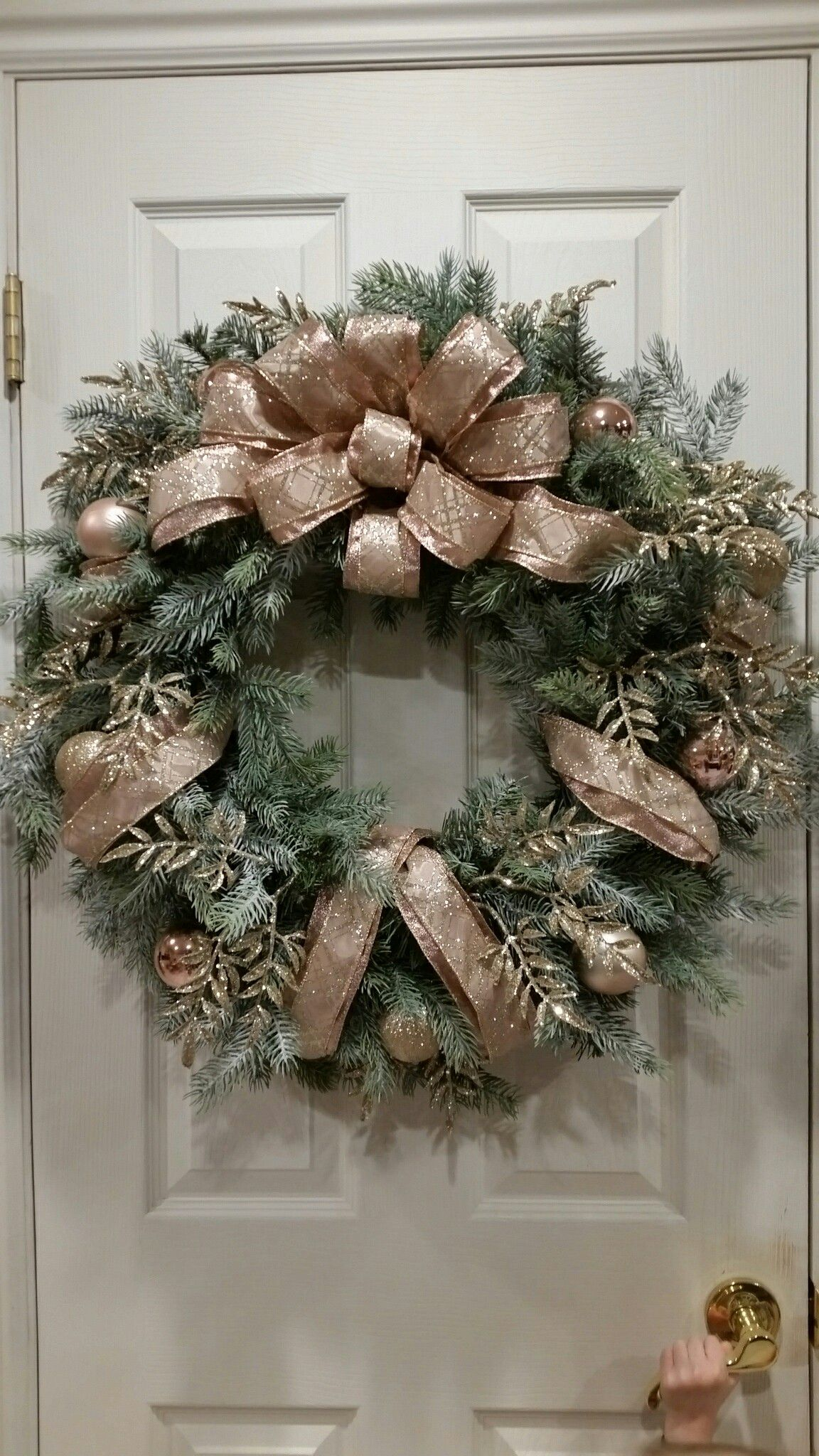 Custom flocked rose and gold christmas wreath sold tis the season
