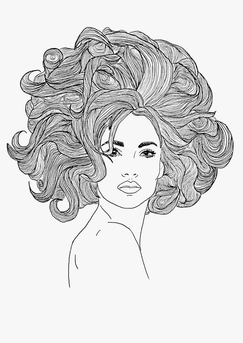 Him and her portfolio line drawing illustration fashion illustration pen hand drawn female model big hair