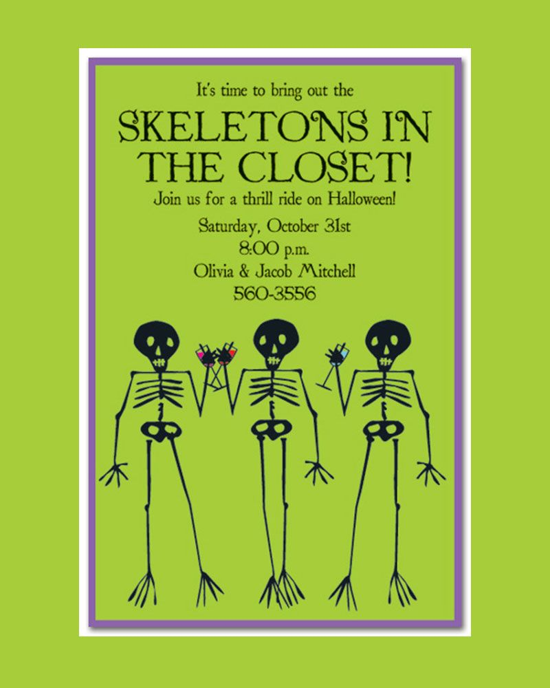 Skeleton In The Closet Halloween Party Invitation Template Design